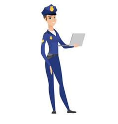 Caucasian police woman using laptop vector