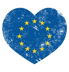 Eu i love european union heart retro flag vector