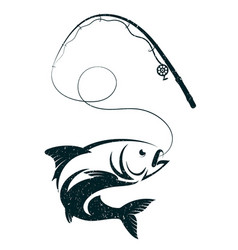 Fish on the hook and fishing rod vector
