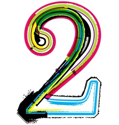 Grunge colorful font Number 2 vector image