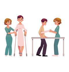 Medical rehabilitation relearning to walk vector