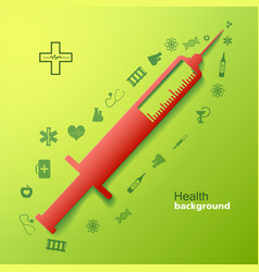 Medical background with big syringe vector