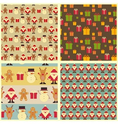 Set of christmas seamless vintage backgrounds vector