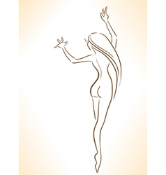 Silhouette of nude dancing slender girl vector