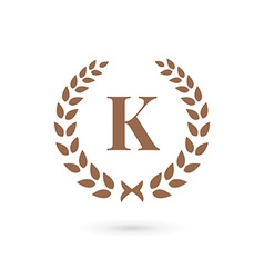 Letter k laurel wreath logo icon design template vector