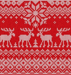 Scandinavian flat style knitted pattern with deers vector