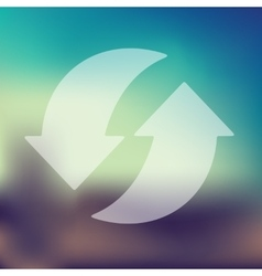 Arrow recycling icon on blurred background vector