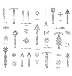 Set of geometric hipster shapes and arrows vector