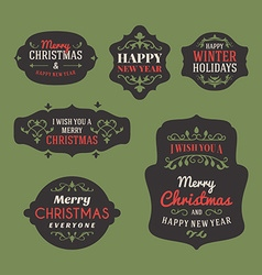Set of retro vintage christmas holiday labels and vector