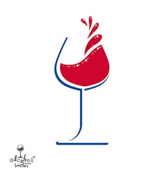 Beautiful wine goblet with splash alcohol theme vector