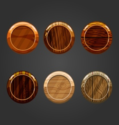 Set of wooden round buttons vector