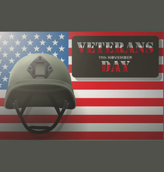 american flag and veterans helmet vector image