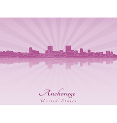 Anchorage skyline in purple radiant orchid vector
