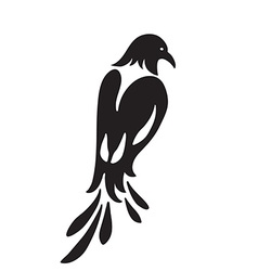 Bird similar to magpie stylized silhouette black vector