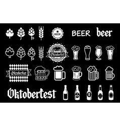Black beer icons set lager vector