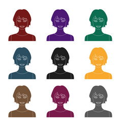 black hair woman icon in black style isolated on vector image vector image