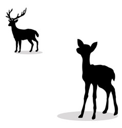 black silhouette deer and fawn white backgroun vector image vector image