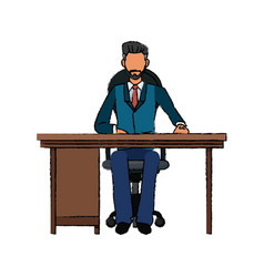 Business man sitting desk working vector