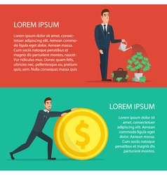 Businessman is watering a tree of money Increase vector image vector image