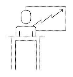 businessman podium presentation board diagram vector image