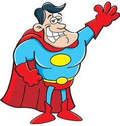 Cartoon super hero waving vector image vector image
