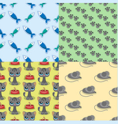 cats mouse cute animal funny vector image