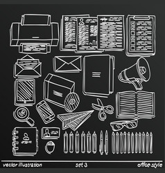 Chalkboard sketch work style set 2 vector