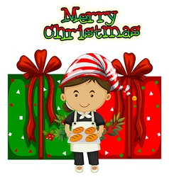 Christmas theme with chef and presents vector image vector image