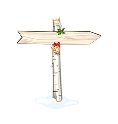 Christmas wooden arrow sign isolated vector image