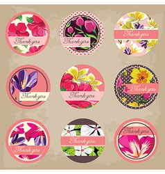 Cute tags set flowers ornaments vector image