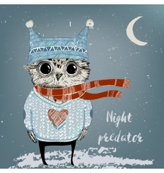 cute winter owl vector image vector image
