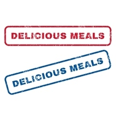 Delicious meals rubber stamps vector