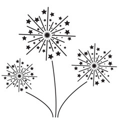 fireworks with stars solid icon exploding vector image