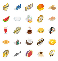 Fruit diet icons set cartoon style vector