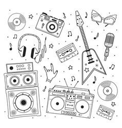 hand drawn set retro musical equipment record vector image