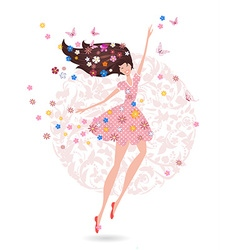 Happy teenage girl with flowers on her head with vector image