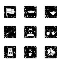 Hemp icons set grunge style vector