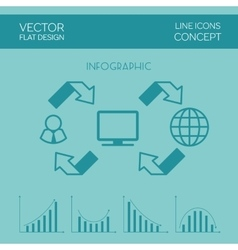 Internet Infographic Flat Design vector image vector image