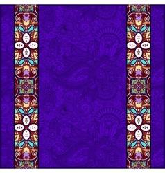 Lace border stripe in ornate floral violet colour vector