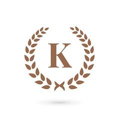 Letter k laurel wreath logo icon design template vector