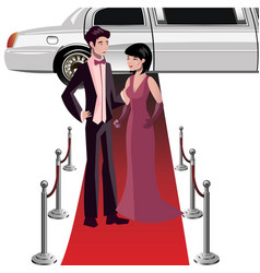 man and woman on a red carpet vector image vector image