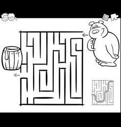 maze with bear coloring page vector image