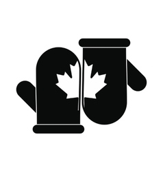 Mittens with a maple leaf icon simple style vector