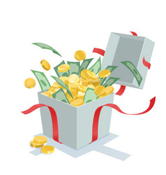 Money coins coming out of the gift box vector