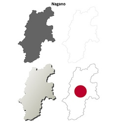 Nagano blank outline map set vector