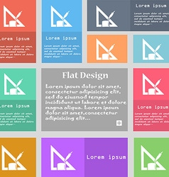 Pencil and ruler icon sign Set of multicolored vector image