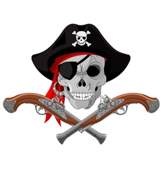 Pirate skull and guns vector