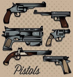 Pistols cartoon collection vector