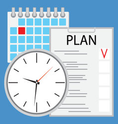 Planning and organization of time flat vector