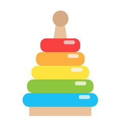 Rainbow pyramid toy flat icon kid and play vector